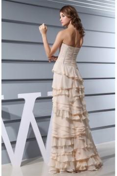 Chiffon A-Line Ruffles Strapless Long Prom/Formal Evening Dresses 02020137