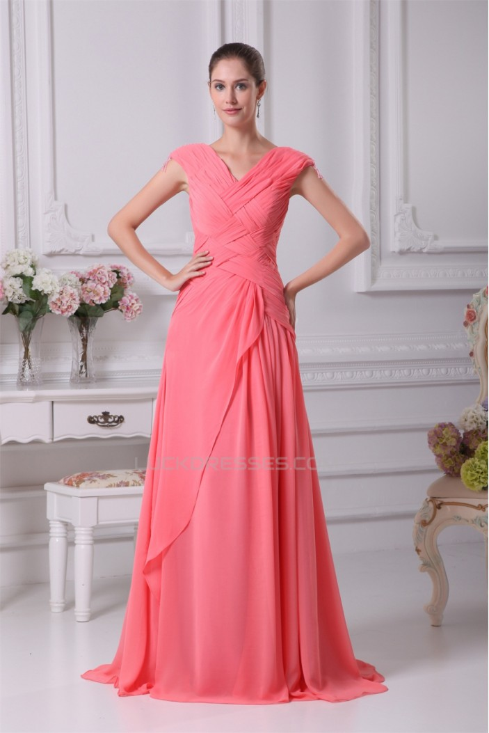 Chiffon Brush Sweep Train Long Prom/Formal Evening Dresses 02020142