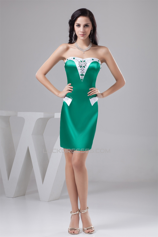 Sleeveless Silk like Satin Short/Mini Beading Best Bridesmaid ...