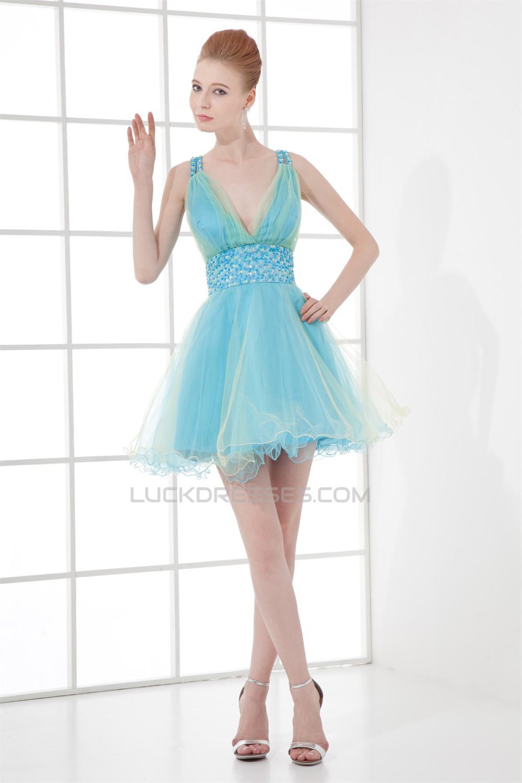 A-Line V-Neck Short/Mini Sleeveless Beaded Tulle Prom