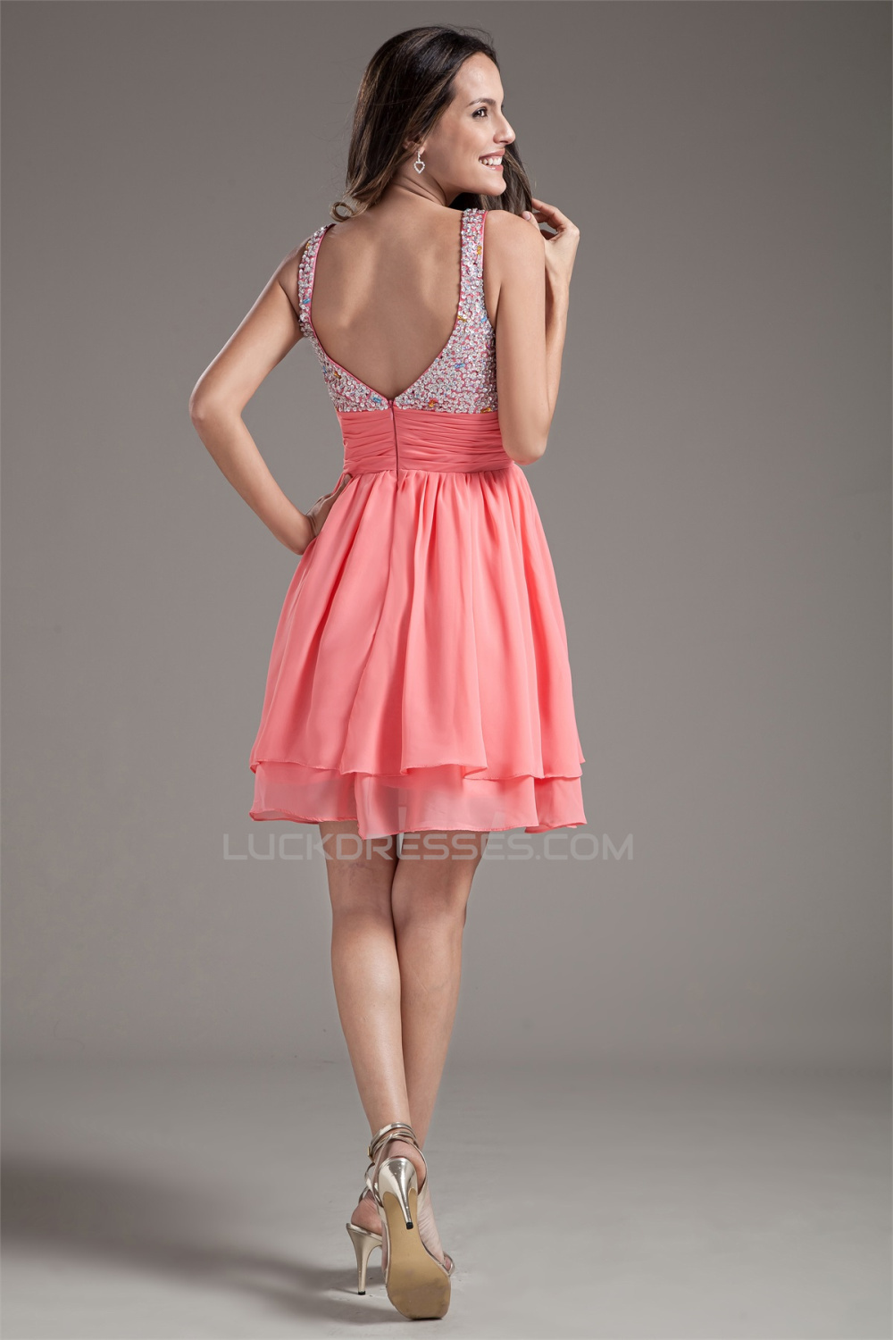 Chiffon Silk Like Satin Sleeveless Short Mini Prom Formal