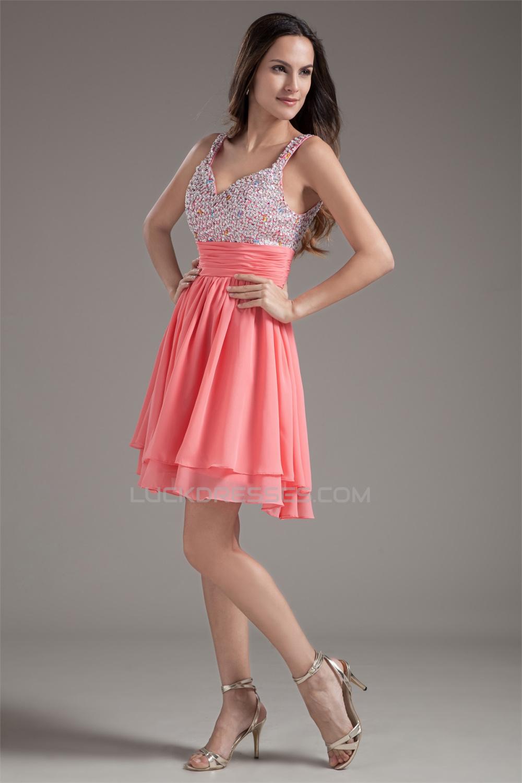 Chiffon Silk Like Satin Sleeveless Short Mini Prom Formal