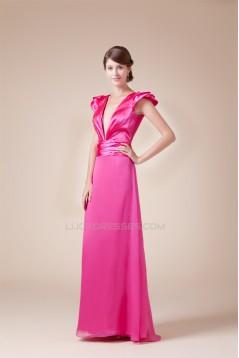 Chiffon Silk like Satin Floor-Length V-Neck Prom/Formal Evening Bridesmaid Dresses 02020148