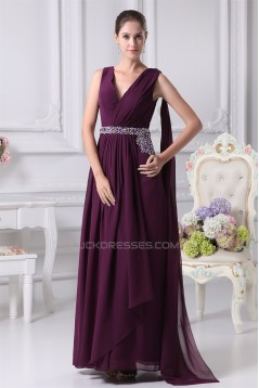 A-Line V-Neck Beading Long Purple Prom/Formal Evening Dresses 02020154