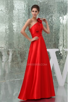 A-Line Floor-Length Beading One-Shoulder Long Red Prom/Formal Evening Bridesmaid Dresses 02020171