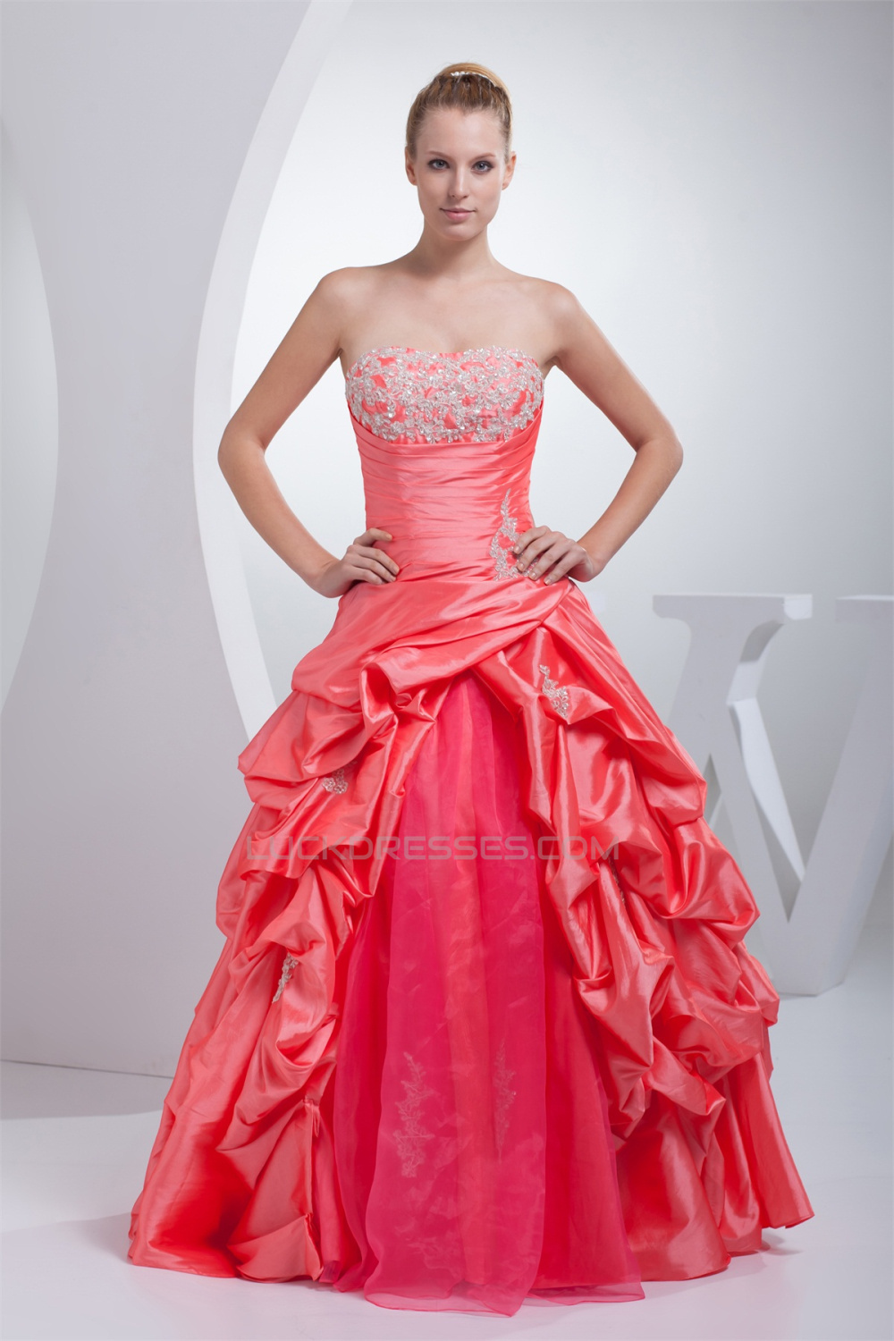 Ball Gown Floor-Length Ruffles Taffeta Organza Prom/Formal Evening ...
