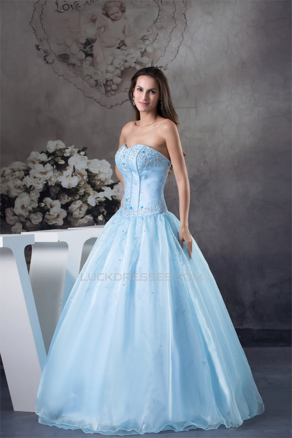 Ball Gown Floor Length Beading Sweetheart Blue Prom Formal