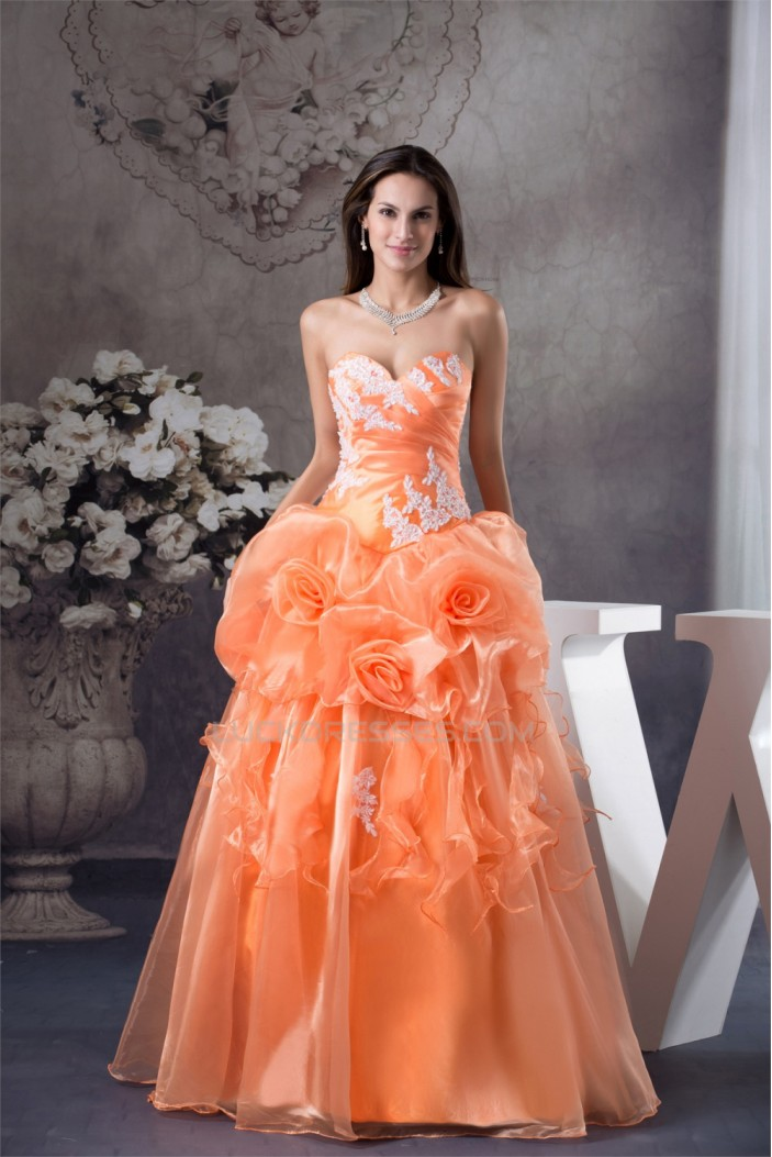 Ball Gown Floor-Length Handmade Flowers Sweetheart Prom/Formal Evening Dresses 02020187