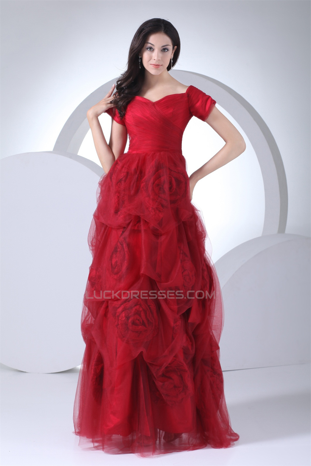 Floor-Length Satin Fine Netting Short Sleeve V-Neck Prom/Formal ...