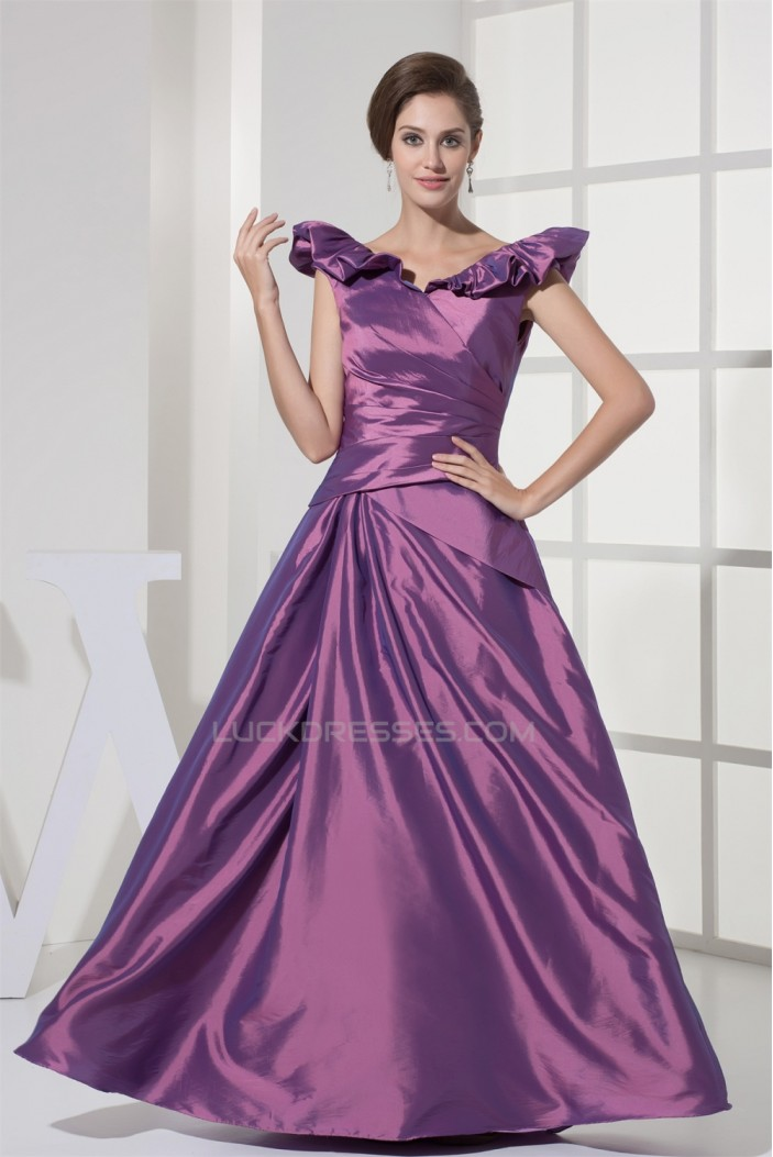 Floor Length Satin Taffeta Sleeveless A Line Prom Formal