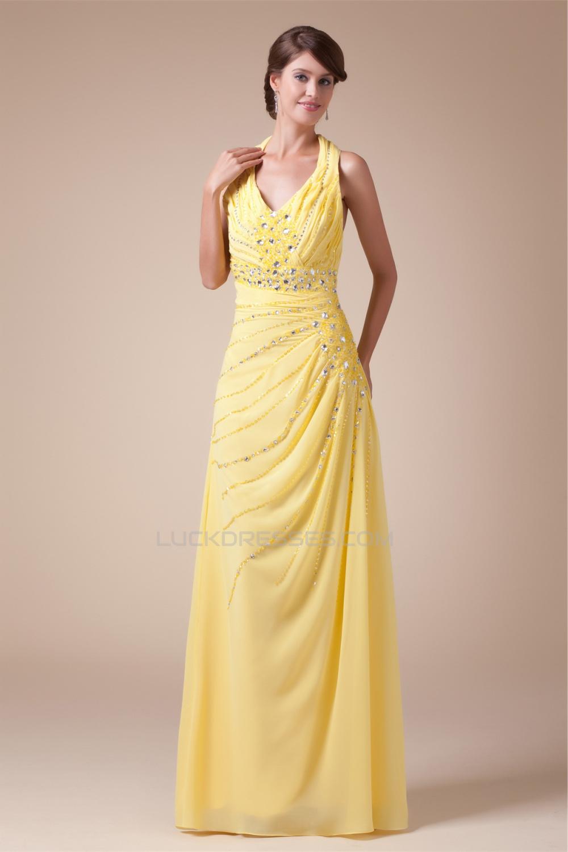 halter sleeveless beading chiffon long yellow prom evening