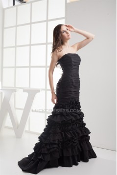 Mermaid/Trumpet Sleeveless Strapless Brush Sweep Train Long Black Prom Evening Dresses 02020222