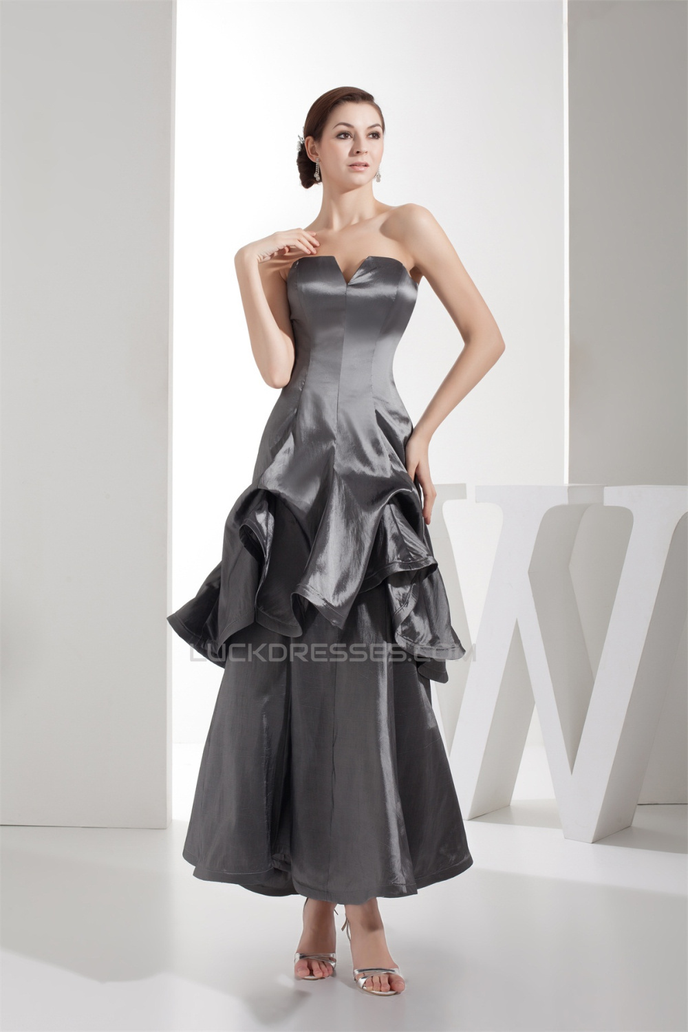 192962b376e Ruched Taffeta Silk like Satin Netting Ankle-Length Prom Formal ...