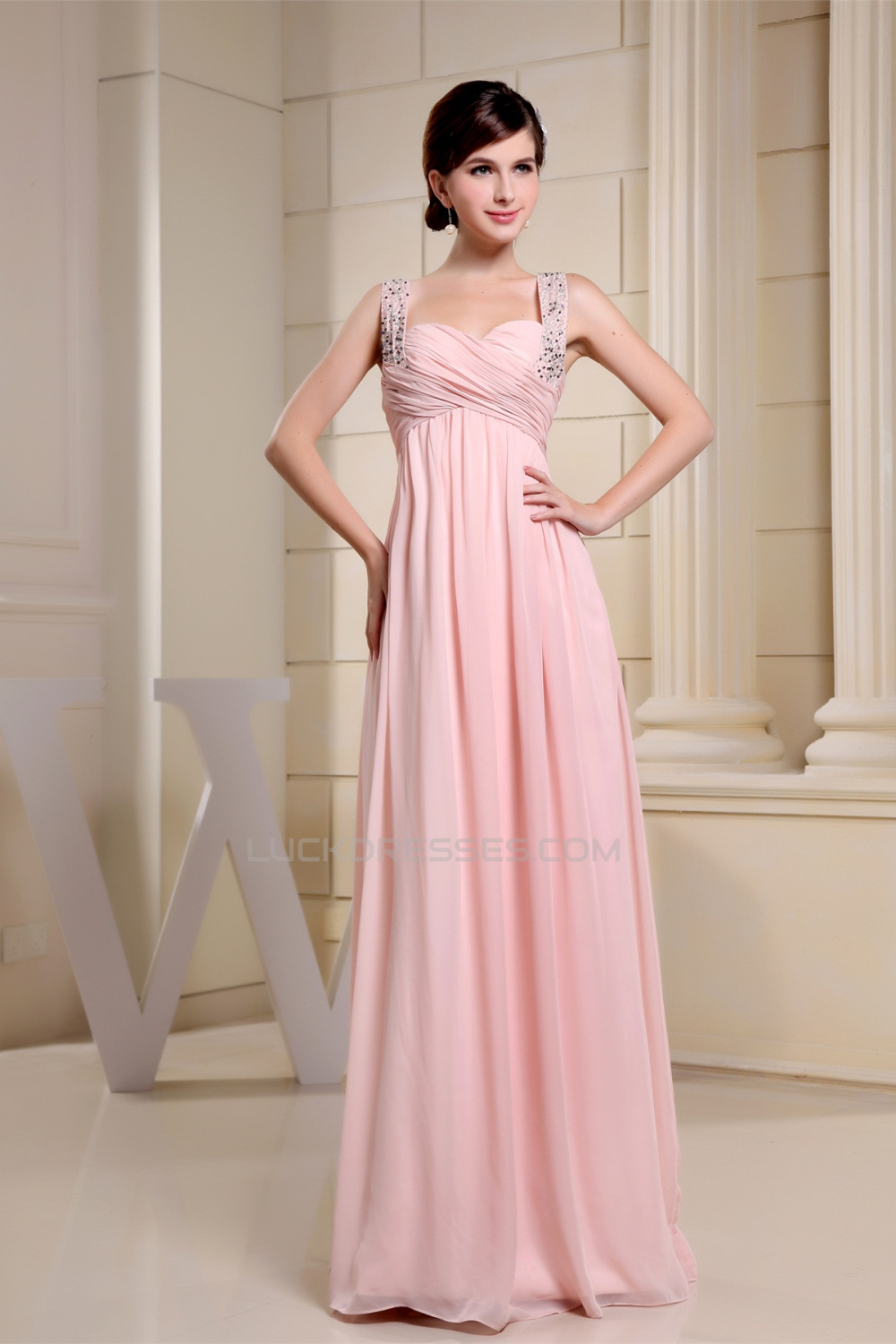bffa2984d636 Empire Sleeveless Long Pink Chiffon Floor-Length Prom Evening Maternity  Formal Evening Dresses 02020264