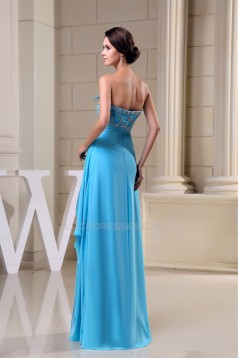 A-Line Strapless Beading Long Blue Floor-Length Prom Evening Formal Dresses 02020265