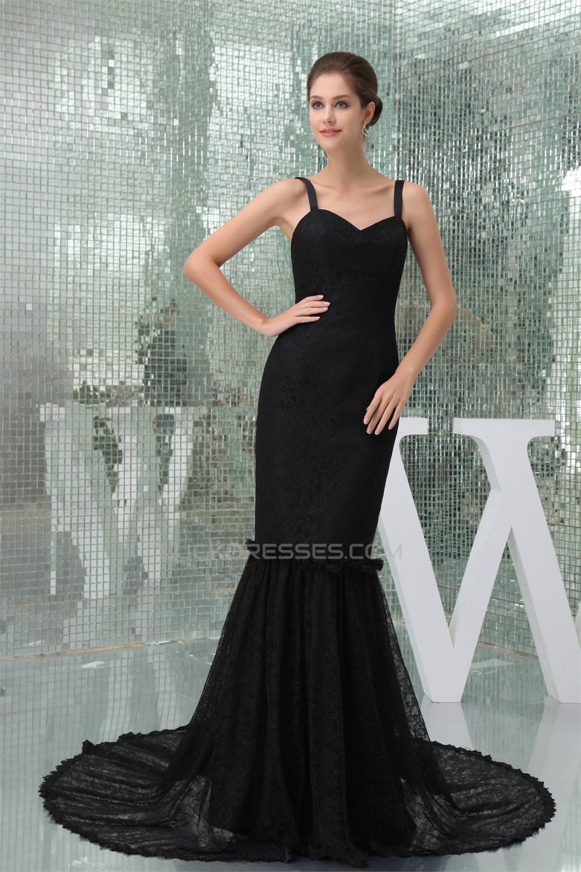 Elegant Trumpet/Mermaid Long Black Lace Brush Sweep Train Prom ...