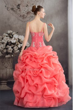 Ball Gown Satin Lace Organza Spaghetti Straps Princess Prom/Formal Evening Dresses 02020273