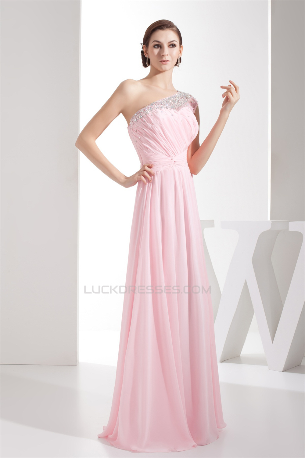 elegant sheath column beading chiffon long pink prom
