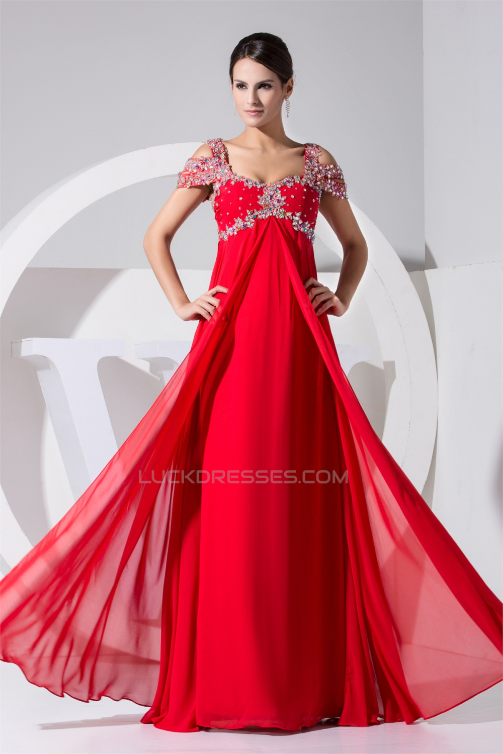 5fb79a2d6dac0 Empire Floor-Length Straps Beading Long Red Prom Evening Formal Maternity  Dresses 02020296