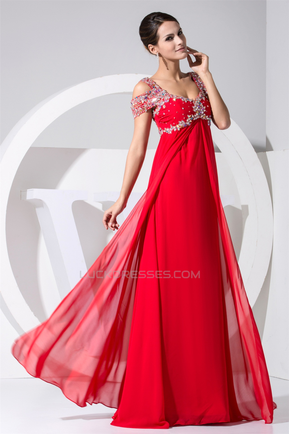 71015d6ffa0d Empire Floor-Length Straps Beading Long Red Prom Evening Formal Maternity  Dresses 02020296
