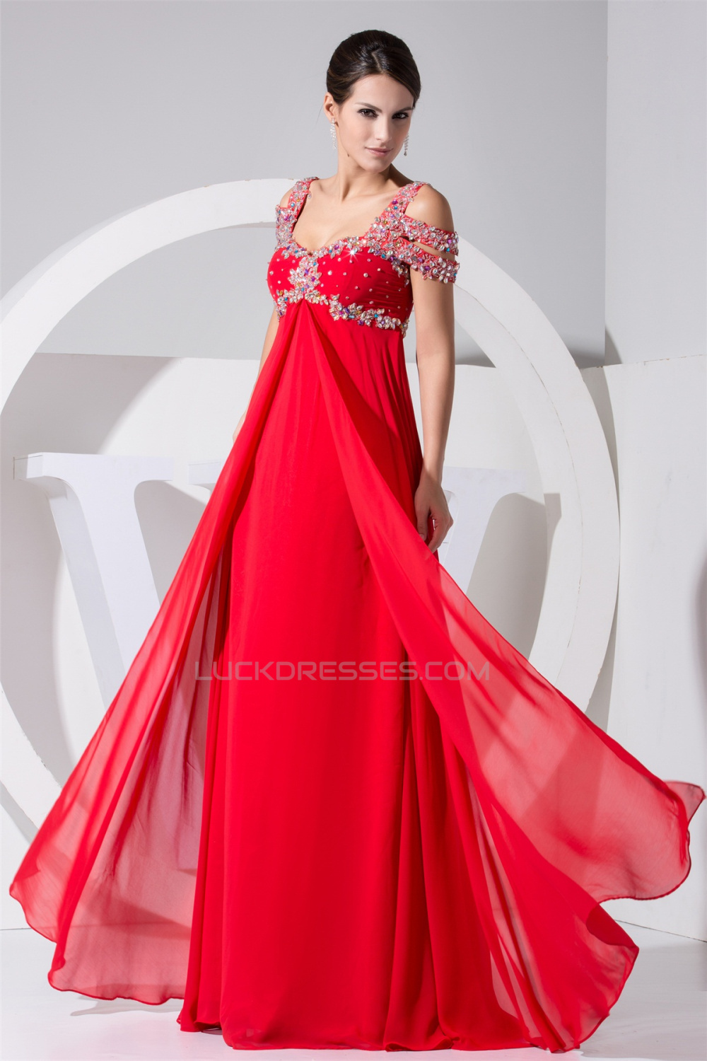 Empire Floor-Length Straps Beading Long Red Prom Evening Formal ...