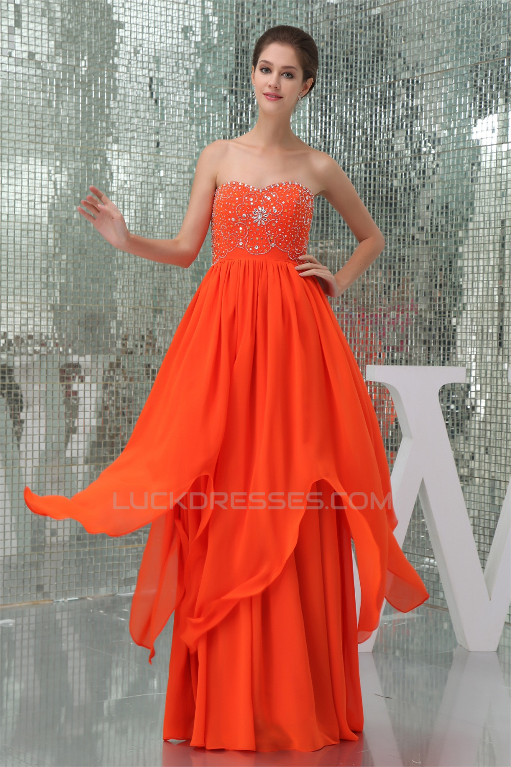 Beading A Line Soft Sweetheart Chiffon Prom Formal Evening