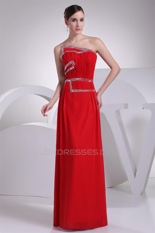 Sheath Column Strapless Red Prom Dress