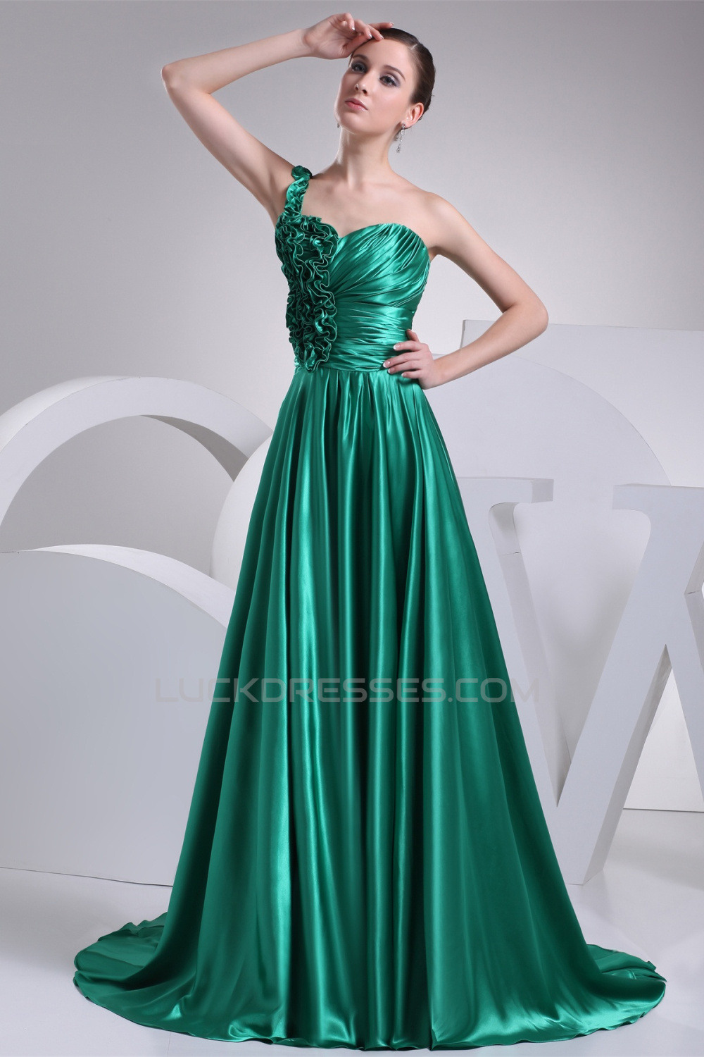 Silk like Satin A-Line One-Shoulder Ruched Prom/Formal Evening ...