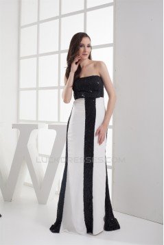 Sleeveless Bows A-Line Strapless Brush Sweep Train Sequins Prom Evening Formal Dresses 02020341