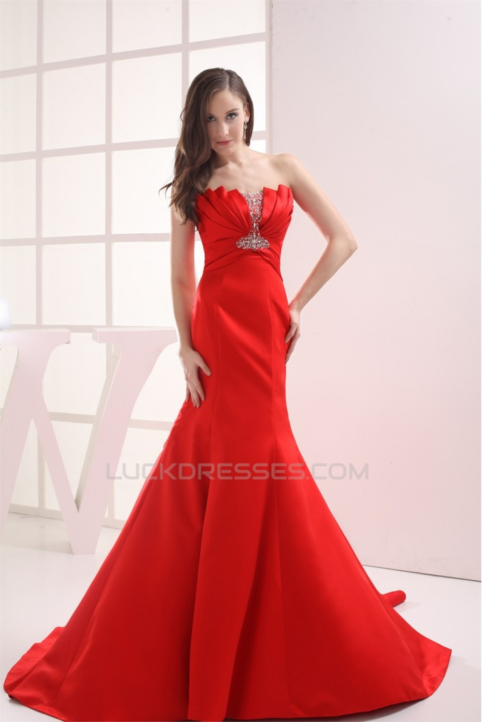 Mermaid/Trumpet Strapless Beaded Long Red Prom/Formal Evening Dresses 02020356