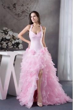 A-Line Sleeveless Satin Organza Brush Sweep Train Pink Prom/Formal Evening Dresses 02020379