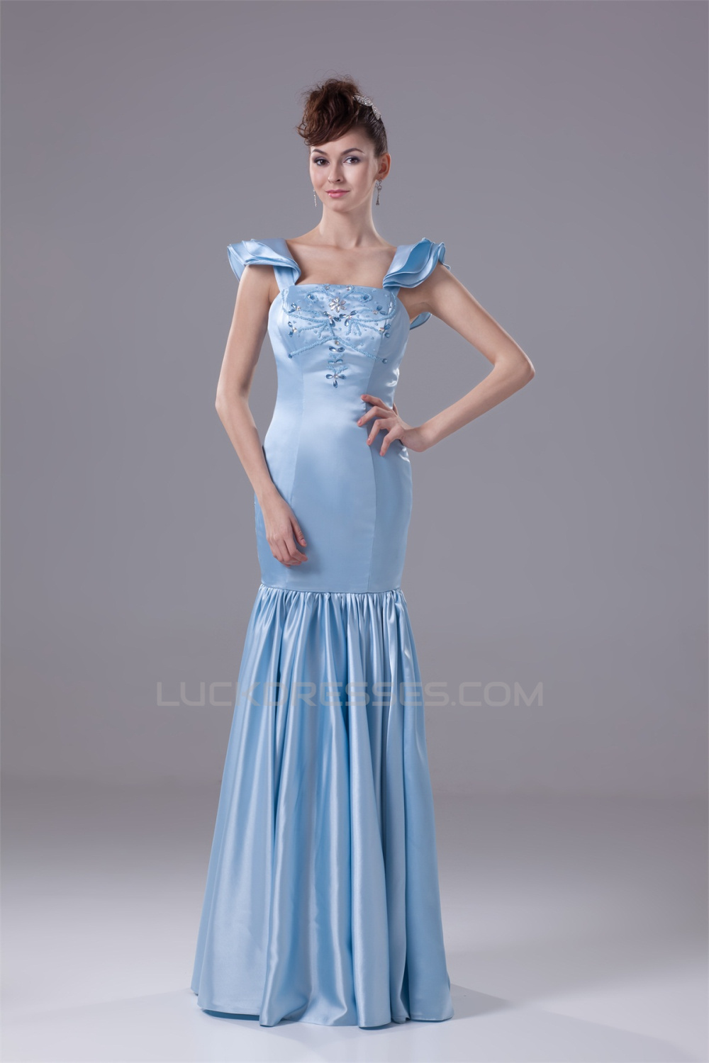 Trumpet Square Silk like Satin Long Prom Evening Formal Dresses ...