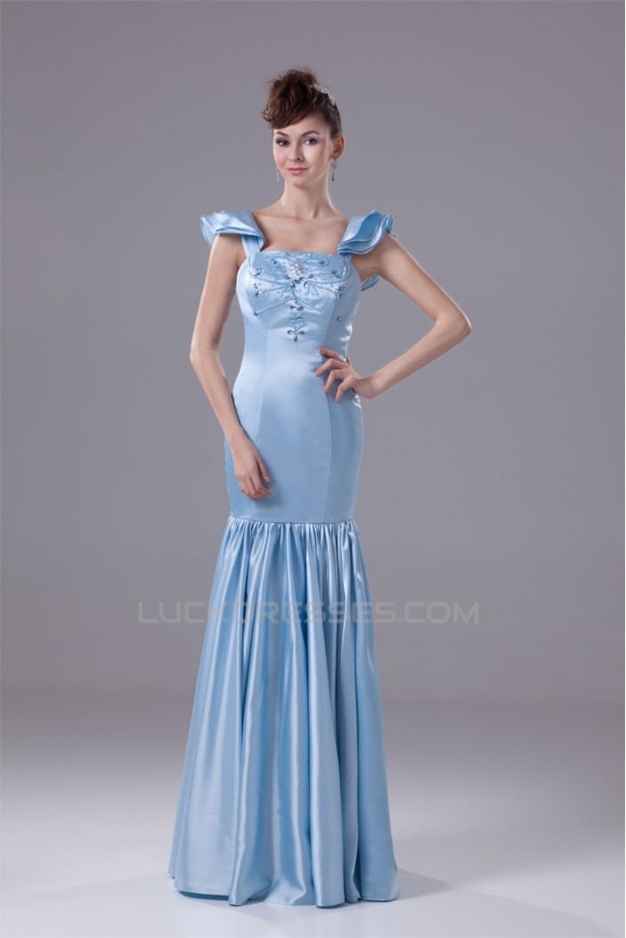 Mermaid Trumpet Square Silk Like Satin Long Prom Evening