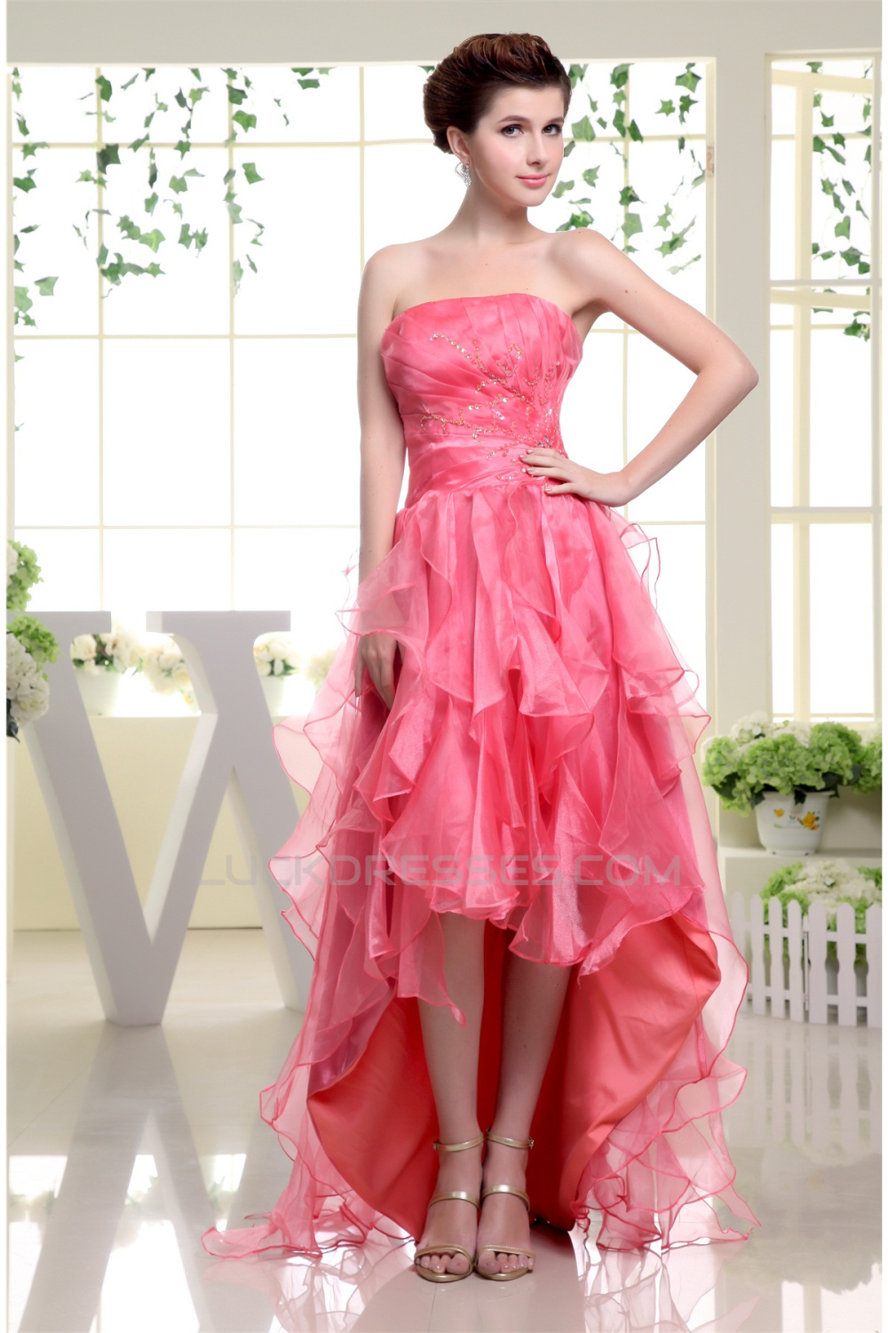 High Low Strapless Beading Asymmetrical Organza Prom/Formal Evening ...