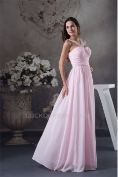 Straps Chiffon Beading Long Pink Prom/Formal Evening Bridesmaid Dresses 02020414