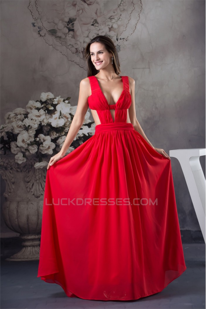 A Line Chiffon Long Red Floor Length Prom Formal Evening