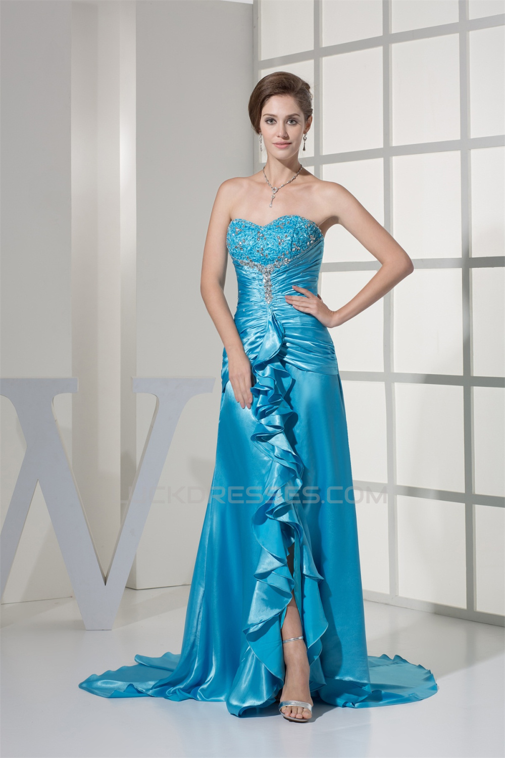 Sweetheart Ruched Elastic Woven Satin Puddle Train Prom/Formal ...