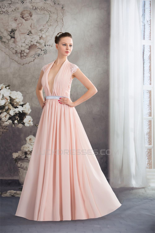 Sheath/Column Deep V-Neck Chiffon Lace Capped Sleeves Prom/Formal ...