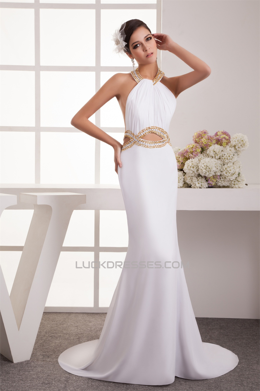 Trumpet/Mermaid Halter Chiffon Sleeveless Beaded Long White Prom ...
