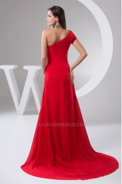 Beading Chiffon Brush Sweep Train Sheath/Column One-Shoulder Evening Bridesmaid Dresses 02020477