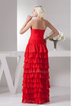 Sheath/Column Strapless Chiffon Long Red Prom Evening Formal Dresses 02020505