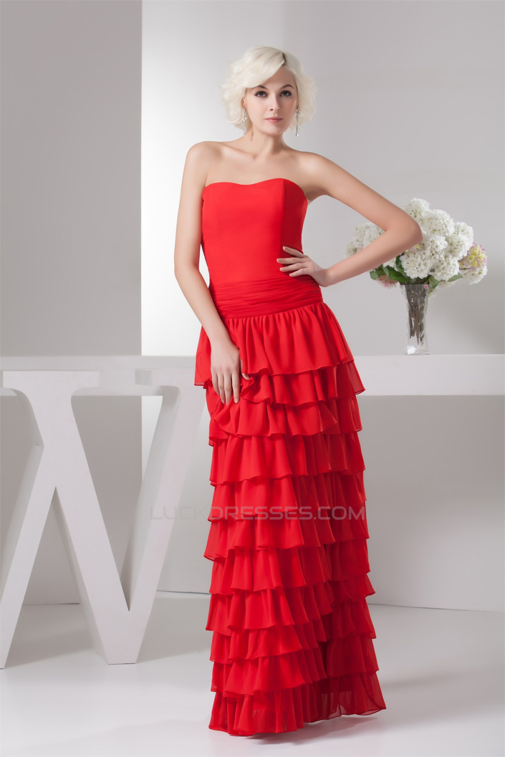 Long Red Strapless Chiffon Dress