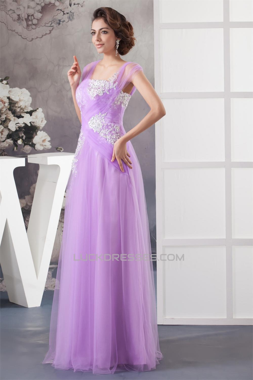 Floor Length Straps Beading Fine Netting Long Purple Prom