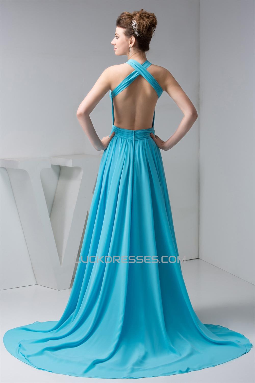Halter Sleeveless Long Blue Chiffon Prom/Formal Evening