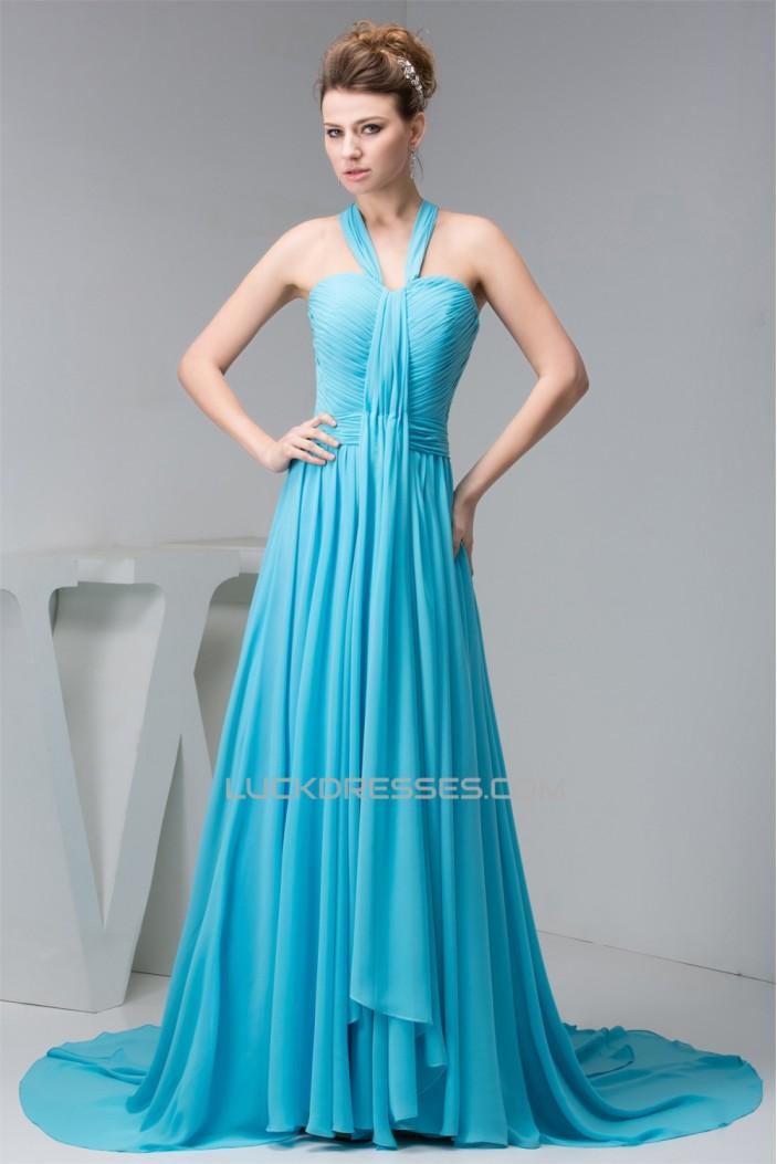 Halter Sleeveless Long Blue Chiffon Prom Formal Evening