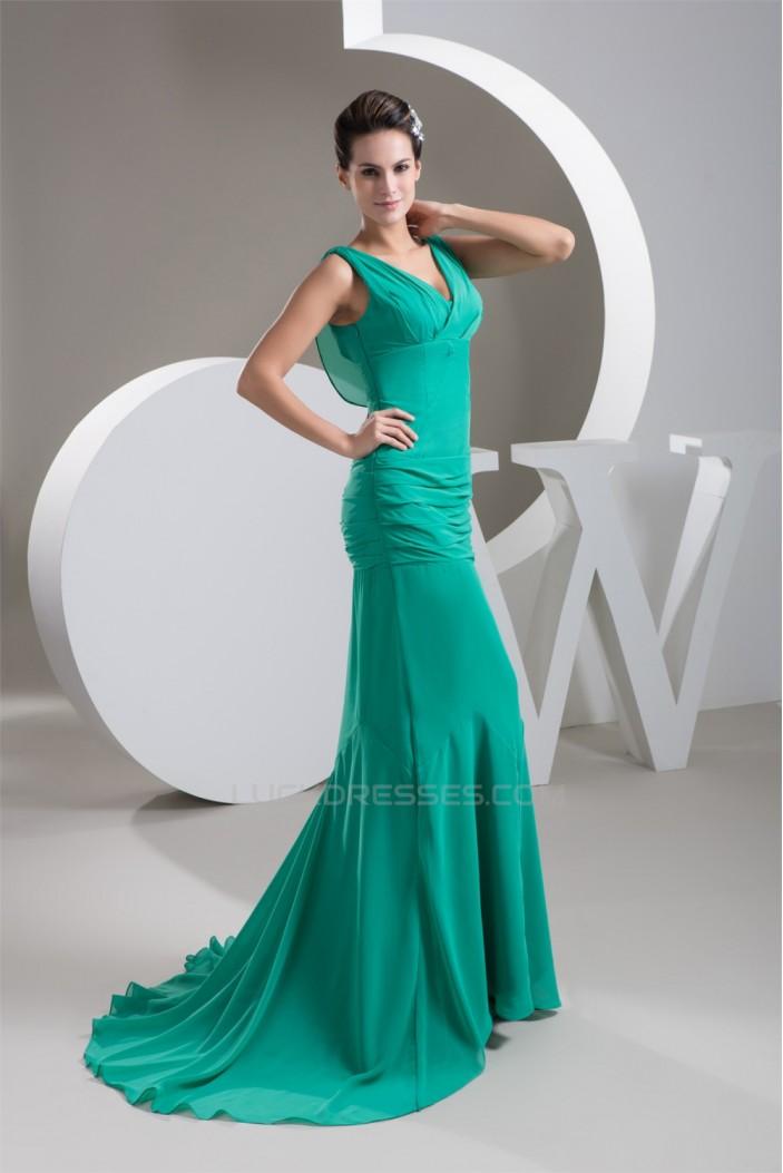 Mermaid/Trumpet Pleats Sleeveless V-Neck Prom/Formal Evening Dresses 02020536
