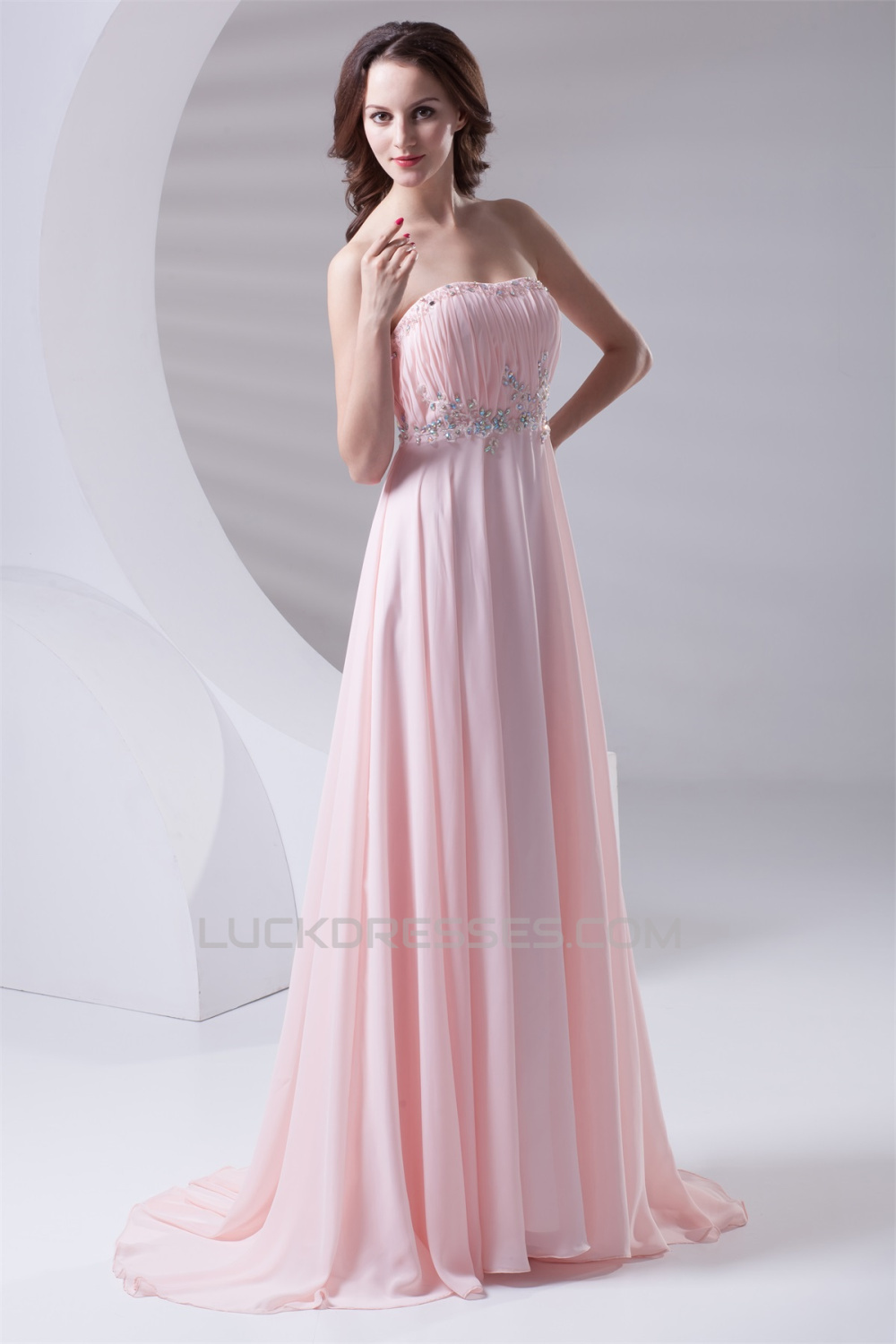 A-Line Strapless Beaded Long Pink Prom Evening Formal