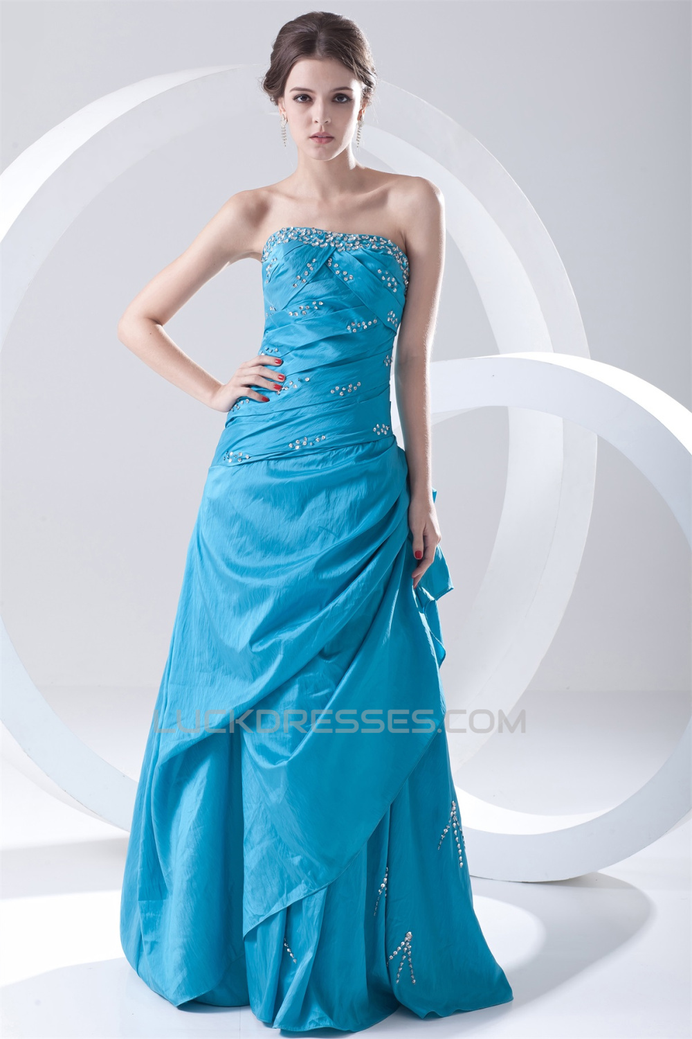 A-Line Floor-Length Pleats Sleeveless Strapless Prom/Formal Evening ...