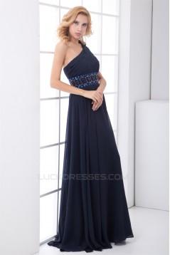 A-Line Handmade Flowers Chiffon Elastic Woven Satin Prom/Formal Evening Dresses 02020624