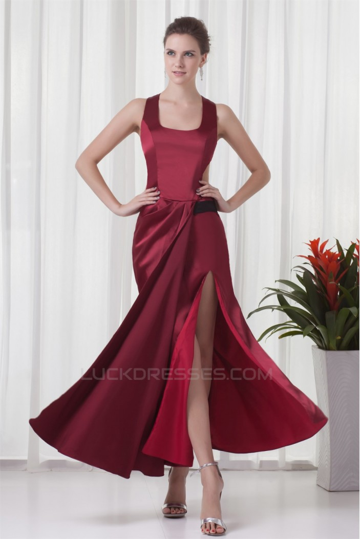 Ankle-Length Elastic Woven Satin Straps Prom/Formal Evening Dresses 02020643